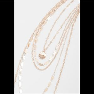 Maurices Layered Drape Glitter Pendant Necklace